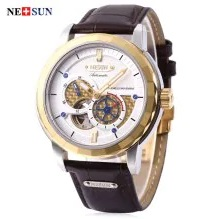 Nesun MS9810 Men Auto Mechanical Watch - White and Golden