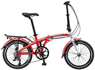 Schwinn Adapt 3 9-speeds Folding Bicycle Series, Great for City Riding and Commuting, Lightweight Aluminum Frame, Front and Rear Fenders, Rear Carry Rack, and Kickstand, Includes Carrying Bag, 20-Inch Wheels