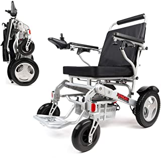 "Porto Mobility Ranger D09S, No.1 Best Rated Weatherproof Exclusive Lightweight Folding Electric Wheelchair, Dual ""500W"" Motors, All Terrain, Dual Battery Portable Electric Wheelchair (Silver)"