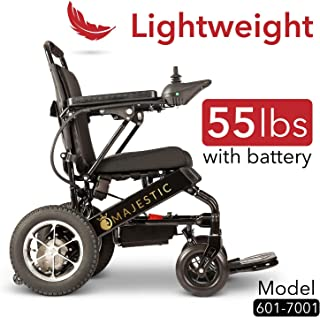 Majestic Buvan 2020 Wide Ultra Lightweight Fold & Travel Electric Heavy Duty Mobility Power Wheelchair Scooter Travel Safe (Model 7001 Black)