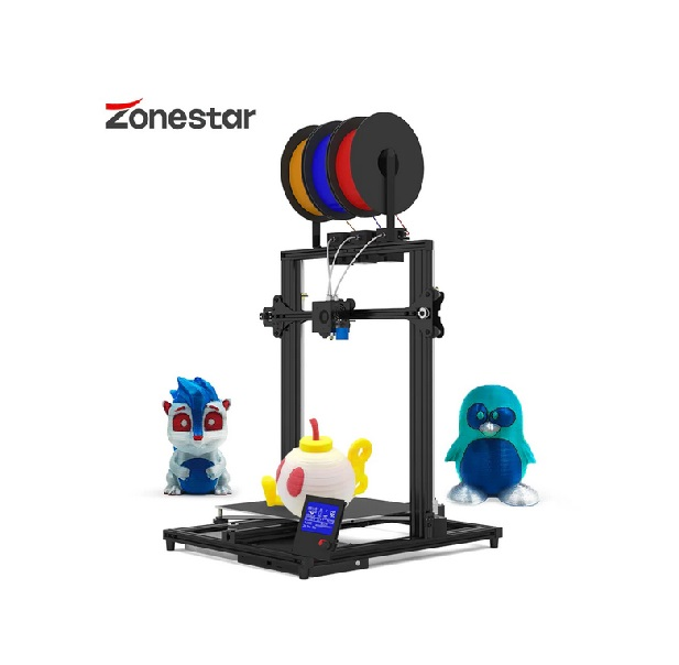 ZONESTAR 3 Color Large Size 3 Extruders 3-IN-1-OUT Mixing Color High Precision - Jet Black