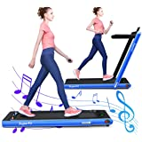 Sportfit 2 in 1 Folding Treadmill, 2.25HP Under Desk Electric Pad Treadmill, Portable Walking Jogging Running Machine, Motorized Flat Treadmill with Audio Bluetooth Speakers, Remote Controller